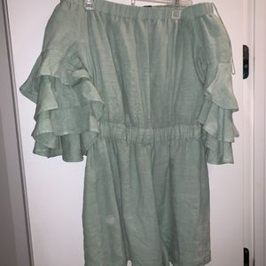 Zara green off the shoulder romper